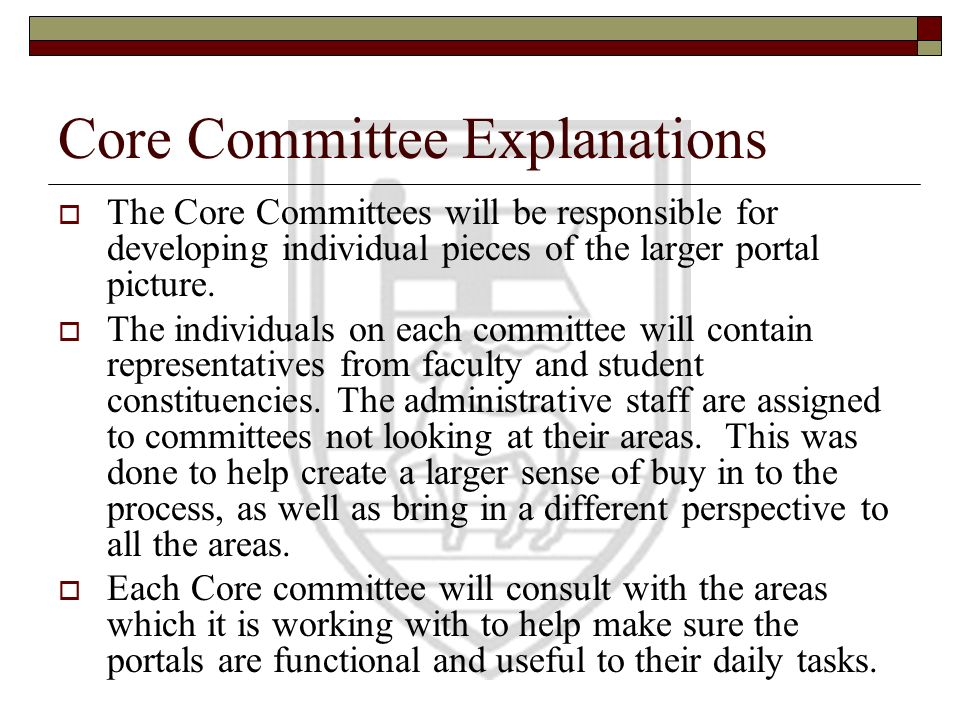 Core Committee Explanations The Core Committees will be responsible for developing individual pieces of the larger portal picture. The individuals on