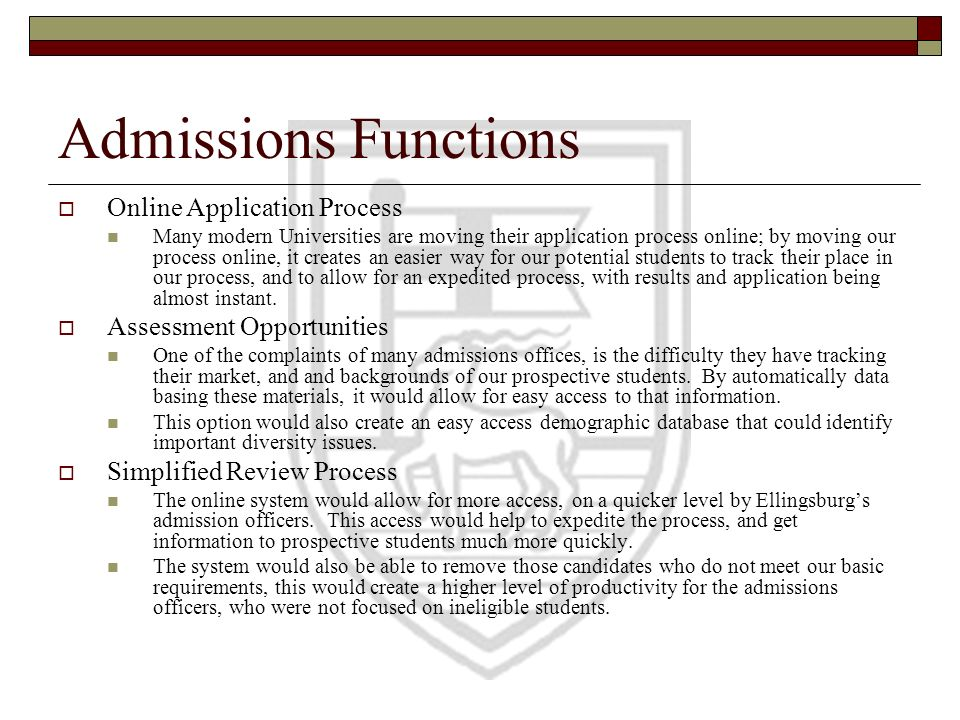 Housing Functions Application Process Similar to the admissions process, the system would allow an already admitted student to confirm their housing preferences and information into the computer.