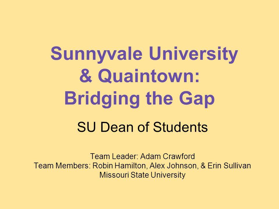 Sunnyvale University & Quaintown: Bridging the Gap SU Dean of Students Team Leader: Adam Crawford Team Members: Robin Hamilton, Alex Johnson, & Erin Sullivan Missouri State University
