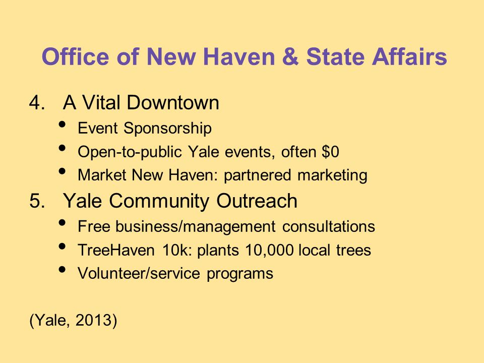 Office of New Haven & State Affairs 4. A Vital Downtown Event Sponsorship Open-to-public Yale events, often $0 Market New Haven: partnered marketing 5