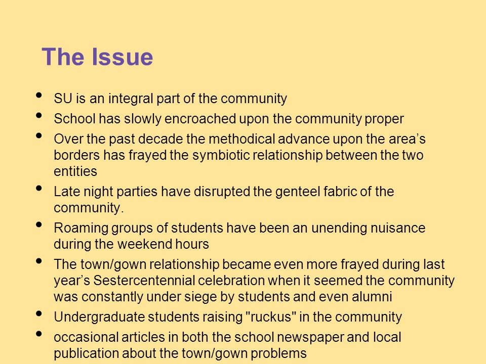 The Issue SU is an integral part of the community School has slowly encroached upon the community proper Over the past decade the methodical advance u