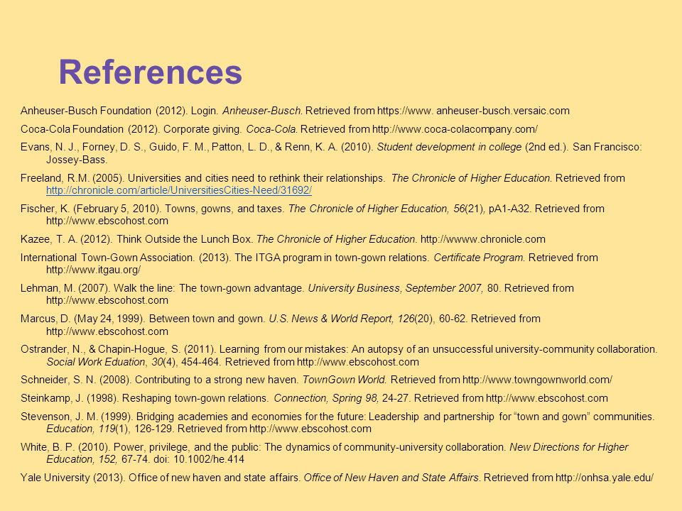 References Anheuser-Busch Foundation (2012). Login.
