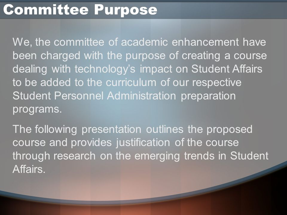 Week 11 Topic Description It is imperative for the Student Affairs Administrator to evaluate the technological skill levels of the students, staff, and faculty when technology is being used in most aspects of the campus.