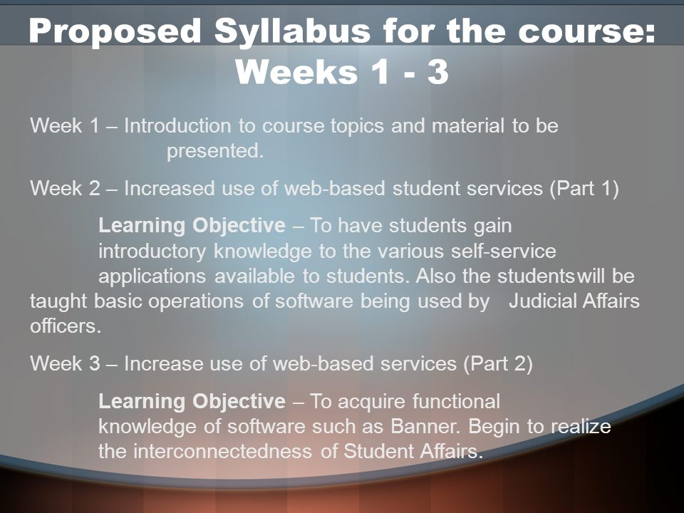 Proposed Syllabus for the course: Weeks 1 - 3 Week 1 – Introduction to course topics and material to be presented. Week 2 – Increased use of web-based