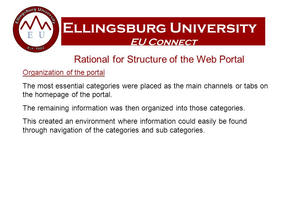 Ellingsburg University EU Connect Organization of the portal The most essential categories were placed as the main channels or tabs on the homepage of