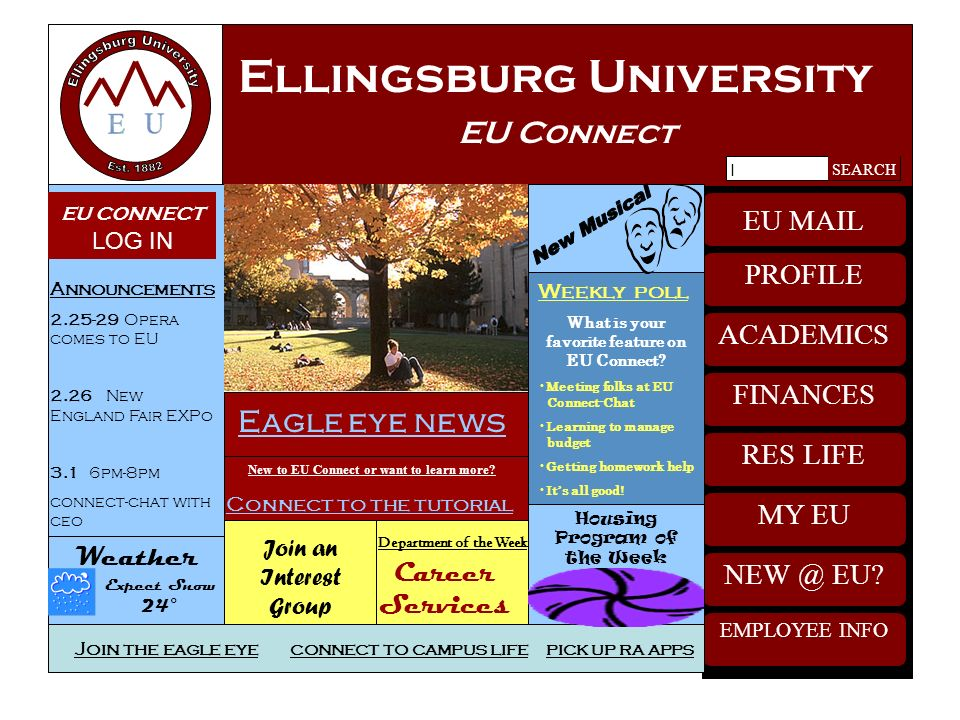 Ellingsburg University EU Connect NEW @ EU This is the primary channel for perspective and new students to transition to university life by providing enrollment services.