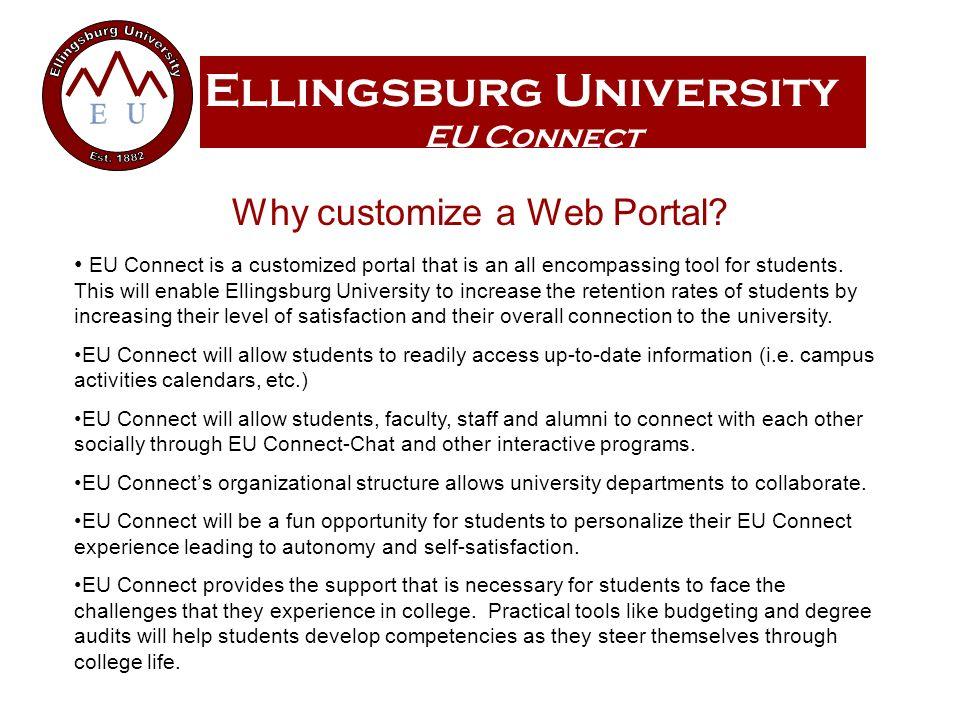Ellingsburg University EU Connect Why customize a Web Portal.