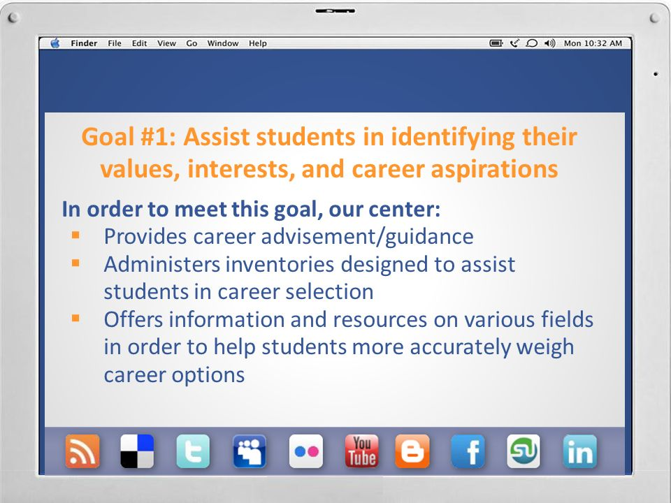 Goals to be met with Social Media Assist students in identifying their values, interests, and career aspirations Provide services and resources that support students in identifying satisfying employment and graduate/professional school opportunities.