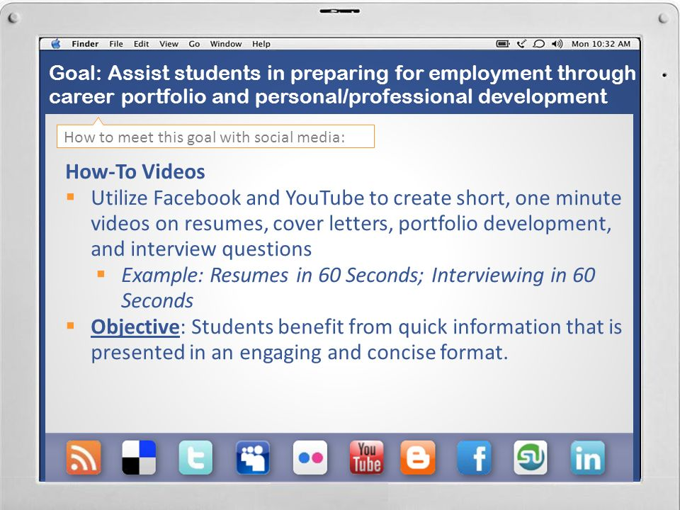 Goal: Assist students in preparing for employment through career portfolio and personal/professional development D ress for Success Photo Albums Create a Facebook photo album including pictures and information on how to dress for interviews, job fairs, and professional events Objective: Students can easily flip through an online photo album for quick, visual information on professional dress for interviewing.