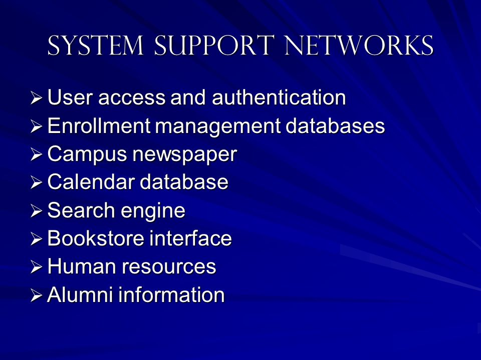 System SUPPORT NETWORKS User access and authentication User access and authentication Enrollment management databases Enrollment management databases