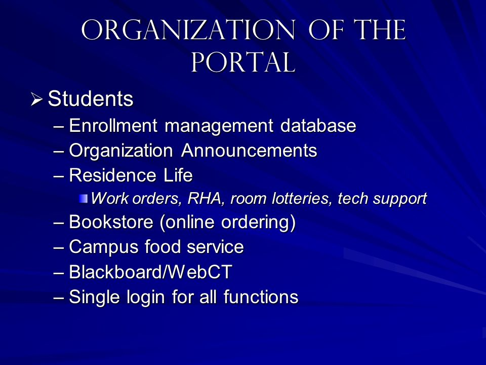 Organization of the portal Students Students –Enrollment management database –Organization Announcements –Residence Life Work orders, RHA, room lotter