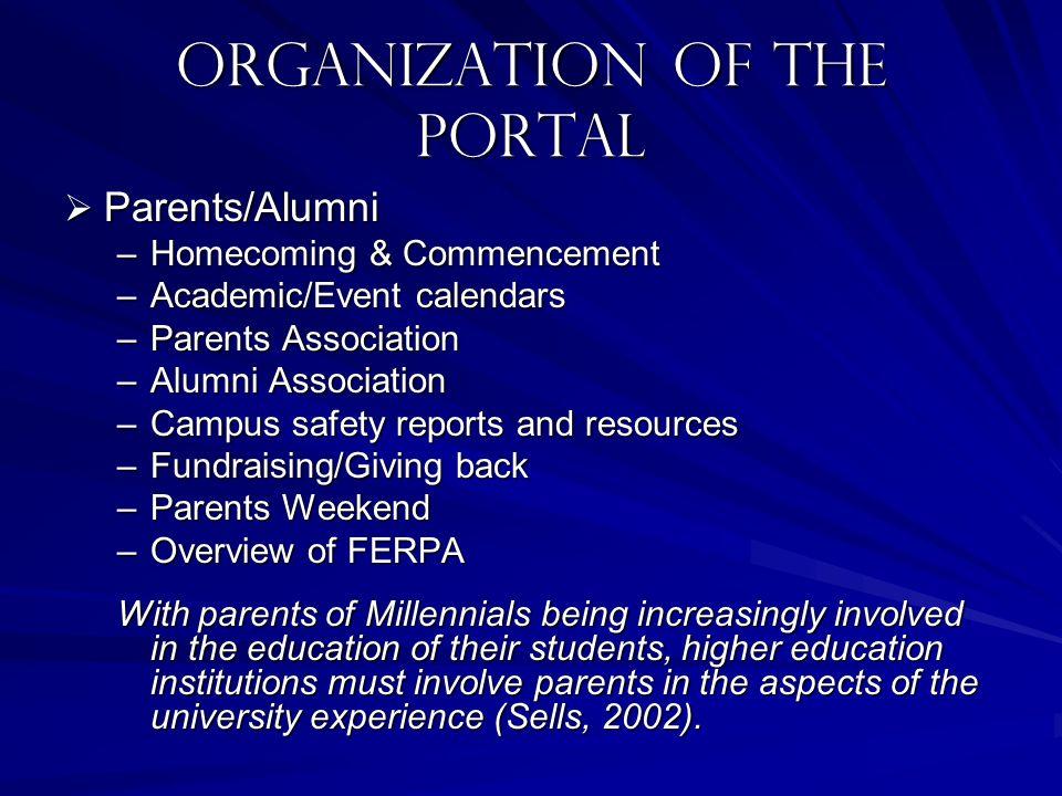 Organization of the portal Parents/Alumni Parents/Alumni –Homecoming & Commencement –Academic/Event calendars –Parents Association –Alumni Association