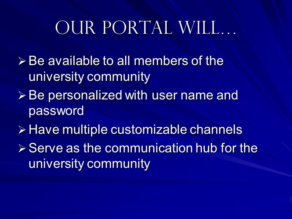 your portal Will… Access student information system Access student information system Feature a customizable main page with links, announcements, and campus news Feature a customizable main page with links, announcements, and campus news Access an interactive personalized calendar Access an interactive personalized calendar Link to discussion boards Link to discussion boards Access university email Access university email