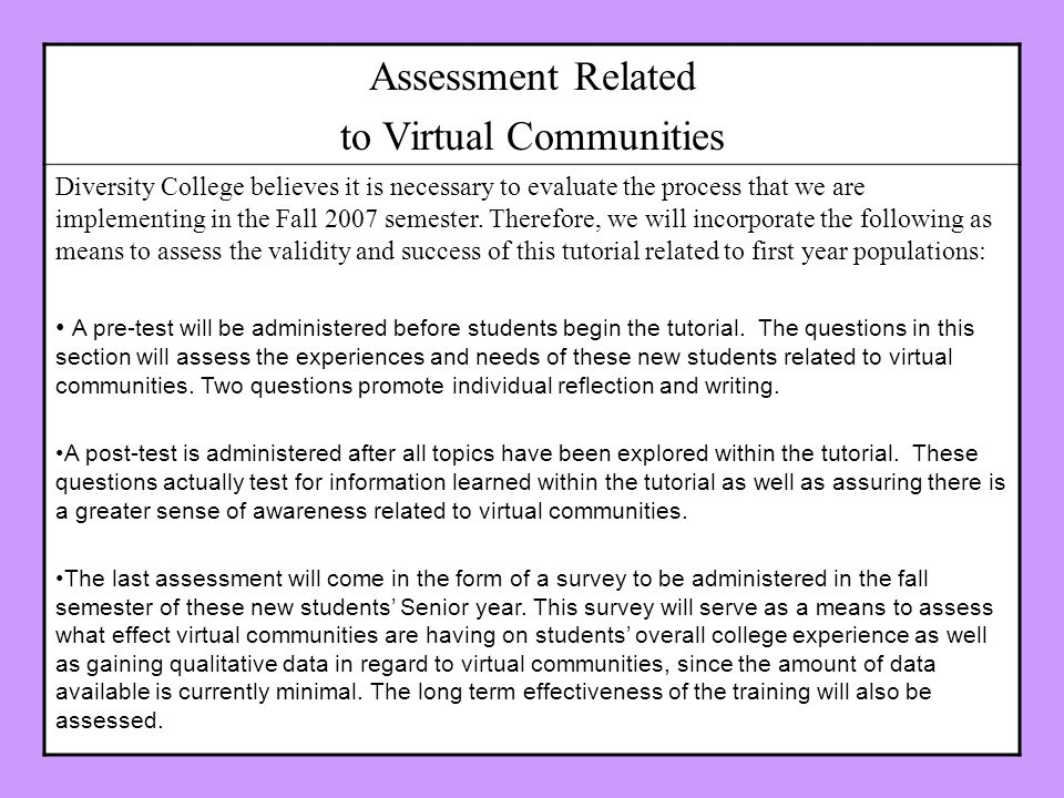 Assessment Related to Virtual Communities Diversity College believes it is necessary to evaluate the process that we are implementing in the Fall 2007 semester.