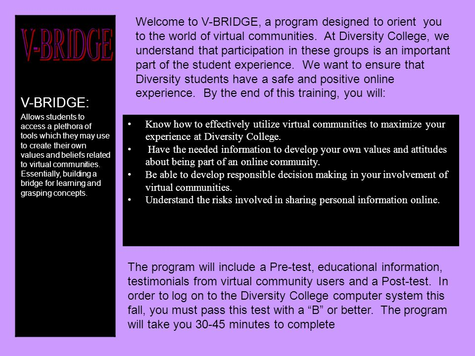 V-BRIDGE: Allows students to access a plethora of tools which they may use to create their own values and beliefs related to virtual communities.