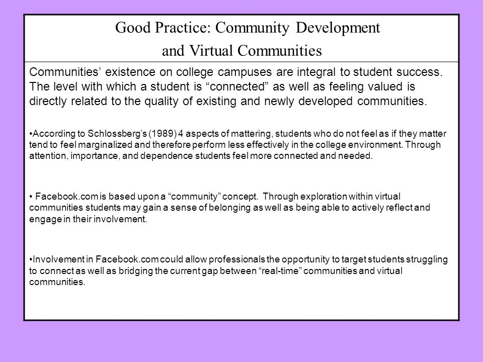 Good Practice: Community Development and Virtual Communities Communities existence on college campuses are integral to student success.