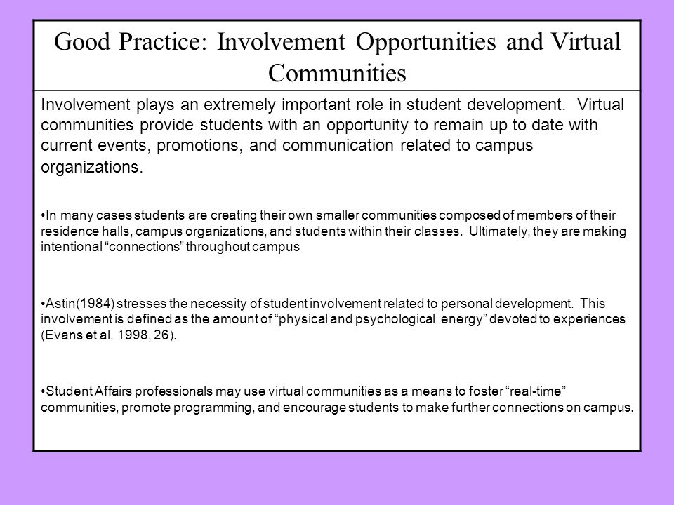 Good Practice: Involvement Opportunities and Virtual Communities Involvement plays an extremely important role in student development. Virtual communi