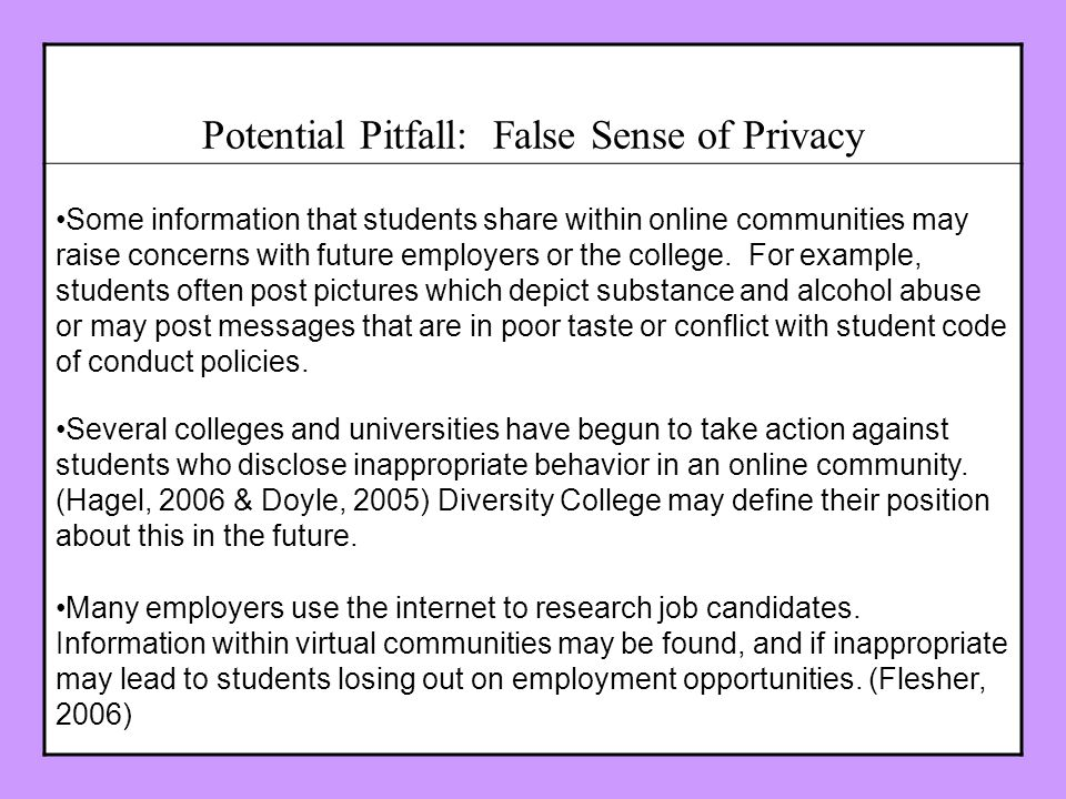 Potential Pitfall: False Sense of Privacy Some information that students share within online communities may raise concerns with future employers or the college.