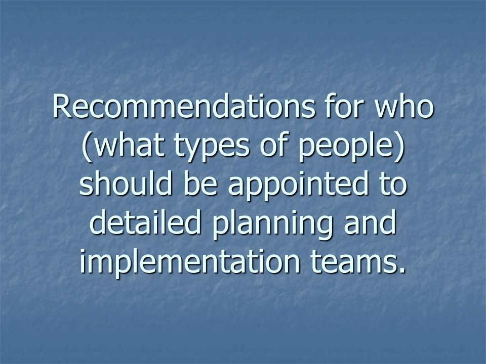 Recommendations for who (what types of people) should be appointed to detailed planning and implementation teams.