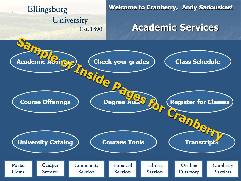 Ellingsburg University Est. 1890 Welcome to Cranberry, Andy Sadouskas.