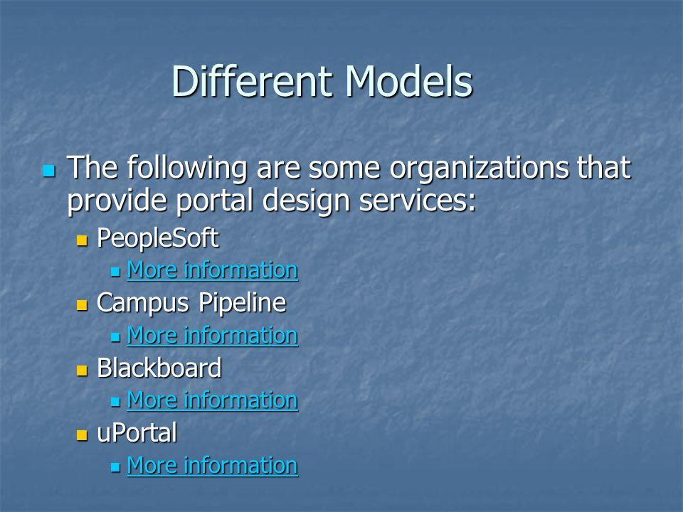 Different Models The following are some organizations that provide portal design services: The following are some organizations that provide portal design services: PeopleSoft PeopleSoft More information More information More information More information Campus Pipeline Campus Pipeline More information More information More information More information Blackboard Blackboard More information More information More information More information uPortal uPortal More information More information More information More information
