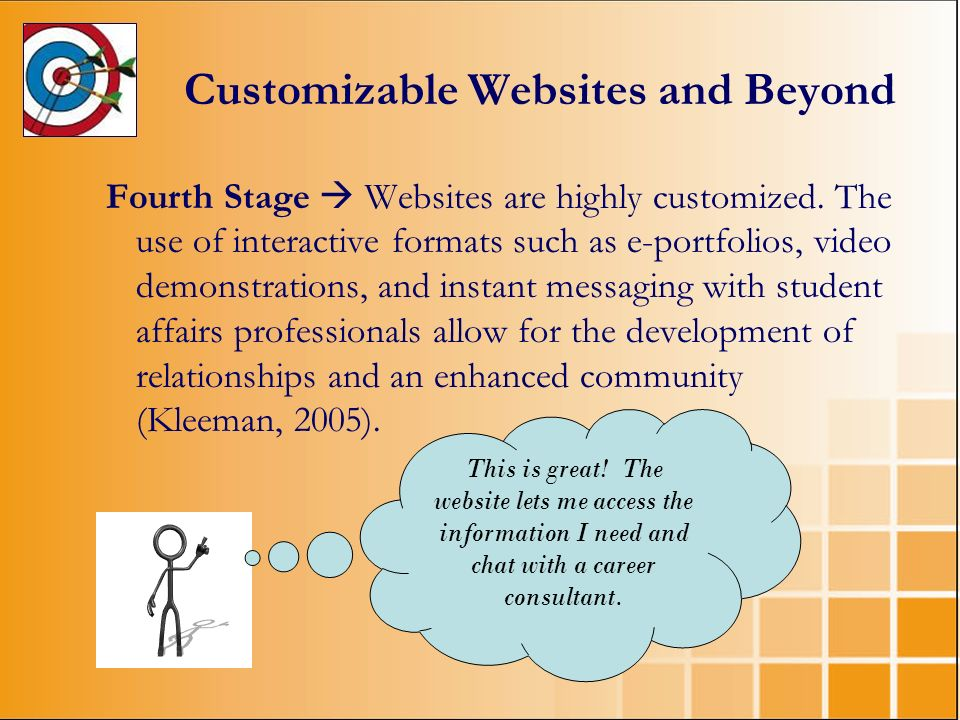 Customizable Websites and Beyond Fourth Stage Websites are highly customized. The use of interactive formats such as e-portfolios, video demonstration