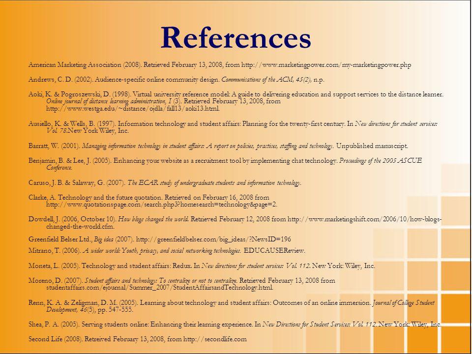 References American Marketing Association (2008). Retrieved February 13, 2008, from http://www.marketingpower.com/my-marketingpower.php Andrews, C. D.