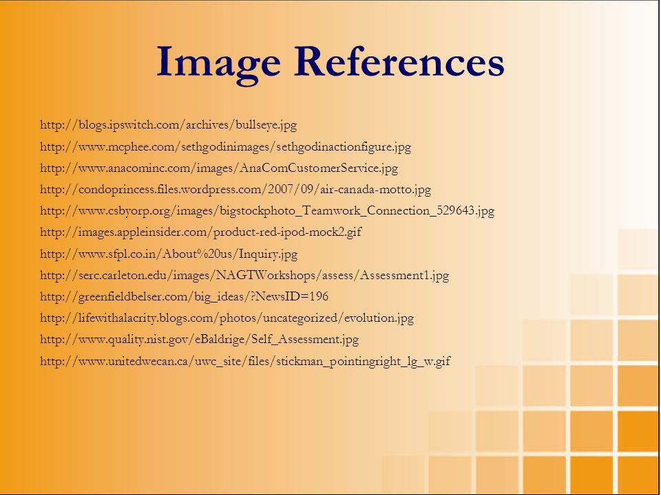 Image References http://blogs.ipswitch.com/archives/bullseye.jpg http://www.mcphee.com/sethgodinimages/sethgodinactionfigure.jpg http://www.anacominc.