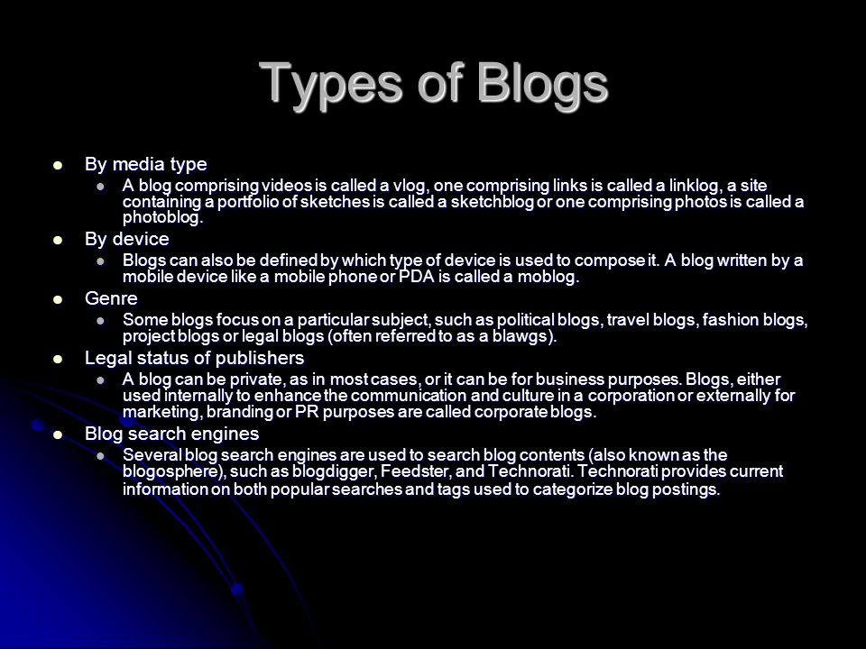 Types of Blogs By media type By media type A blog comprising videos is called a vlog, one comprising links is called a linklog, a site containing a portfolio of sketches is called a sketchblog or one comprising photos is called a photoblog.