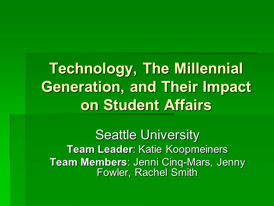 The Millennial Student & Technology According to a survey done by the Pew Project on the Internet and American Life in 2003, 70% of college students have used computer games, video games, or games online (Coomes & DeBard, 2004).