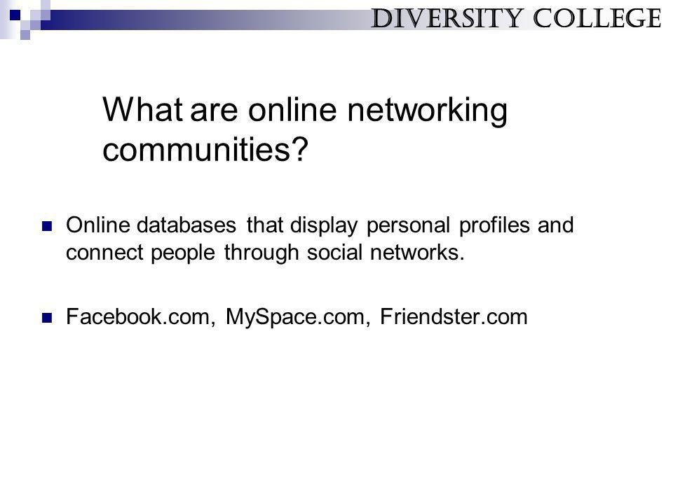 What are online networking communities? Online databases that display personal profiles and connect people through social networks. Facebook.com, MySp
