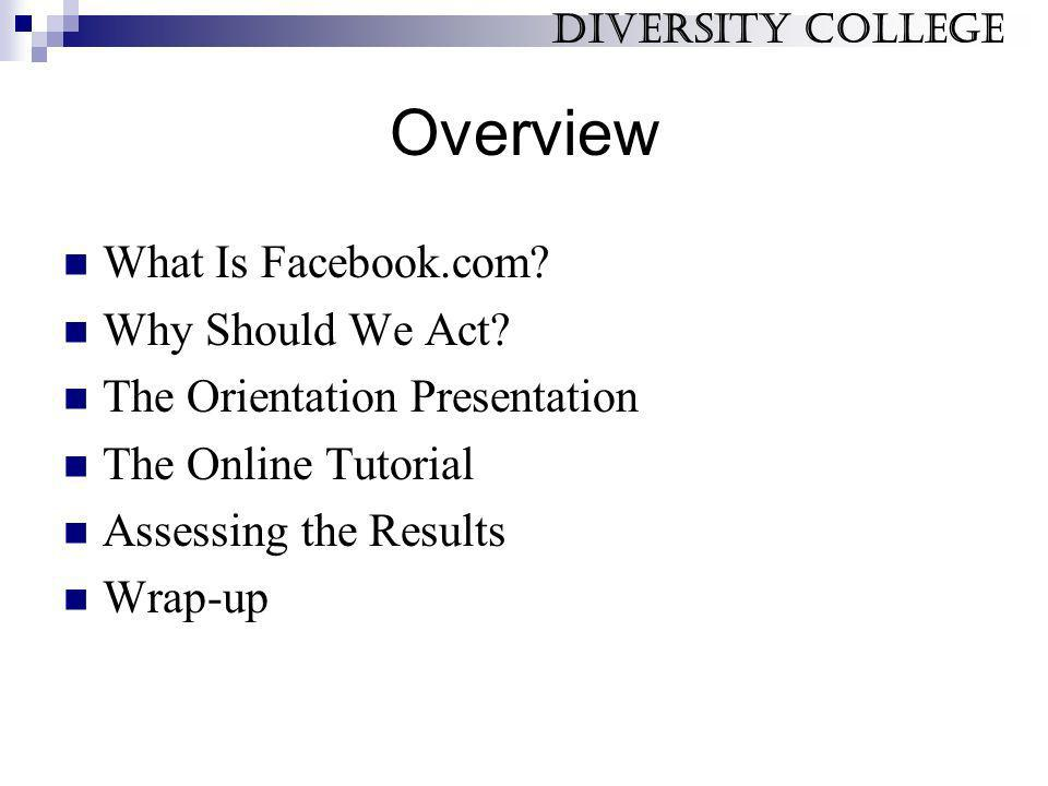 Overview What Is Facebook.com? Why Should We Act? The Orientation Presentation The Online Tutorial Assessing the Results Wrap-up Diversity College