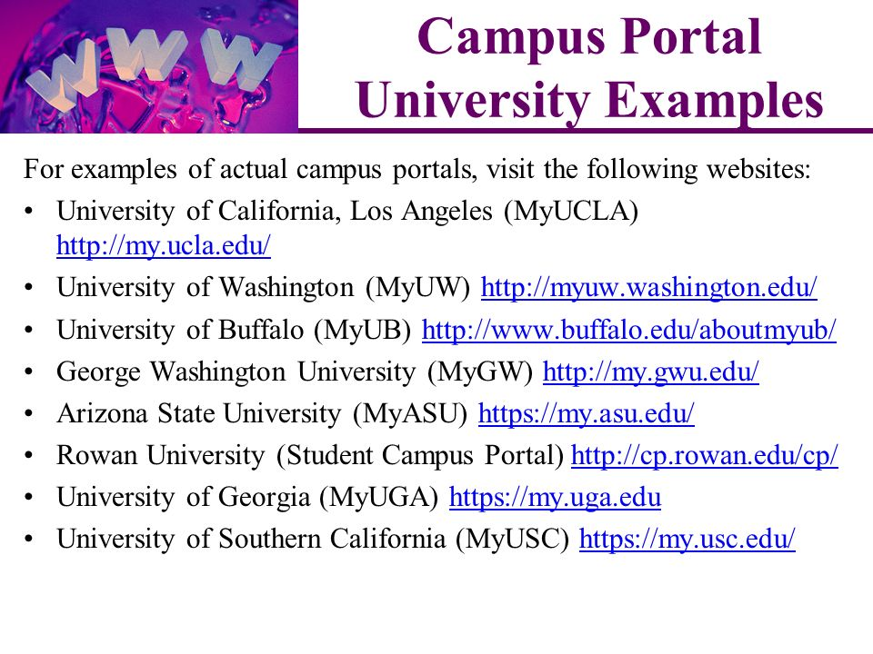 For examples of actual campus portals, visit the following websites: University of California, Los Angeles (MyUCLA)     University of Washington (MyUW)   University of Buffalo (MyUB)   George Washington University (MyGW)   Arizona State University (MyASU)   Rowan University (Student Campus Portal)   University of Georgia (MyUGA)   University of Southern California (MyUSC)   Campus Portal University Examples
