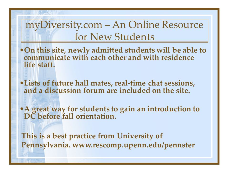 On this site, newly admitted students will be able to communicate with each other and with residence life staff.