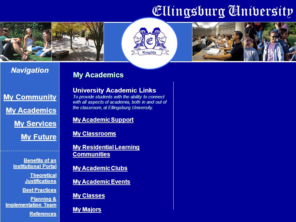 Ellingsburg University E Knights My Academics University Academic Links To provide students with the ability to connect with all aspects of academia, both in and out of the classroom, at Ellingsburg University.