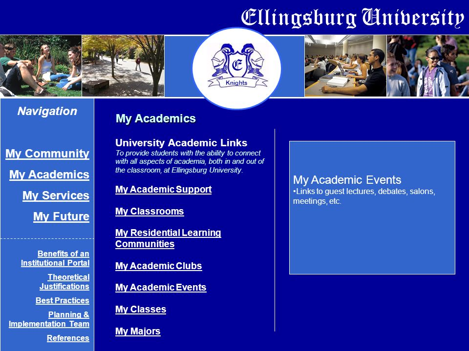 Ellingsburg University E Knights My Academics My Academic Events Links to guest lectures, debates, salons, meetings, etc.