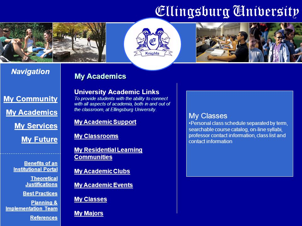 Ellingsburg University E Knights My Academics My Classes Personal class schedule separated by term, searchable course catalog, on-line syllabi, professor contact information, class list and contact information Navigation My Community My Academics My Services My Future Benefits of an Institutional Portal Theoretical Justifications Best Practices Planning & Implementation Team References University Academic Links To provide students with the ability to connect with all aspects of academia, both in and out of the classroom, at Ellingsburg University.