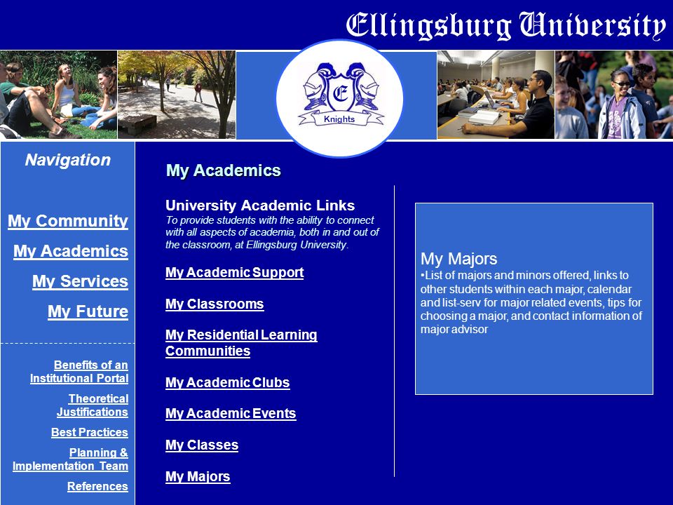 Ellingsburg University E Knights My Academics My Majors List of majors and minors offered, links to other students within each major, calendar and list-serv for major related events, tips for choosing a major, and contact information of major advisor Navigation My Community My Academics My Services My Future Benefits of an Institutional Portal Theoretical Justifications Best Practices Planning & Implementation Team References University Academic Links To provide students with the ability to connect with all aspects of academia, both in and out of the classroom, at Ellingsburg University.