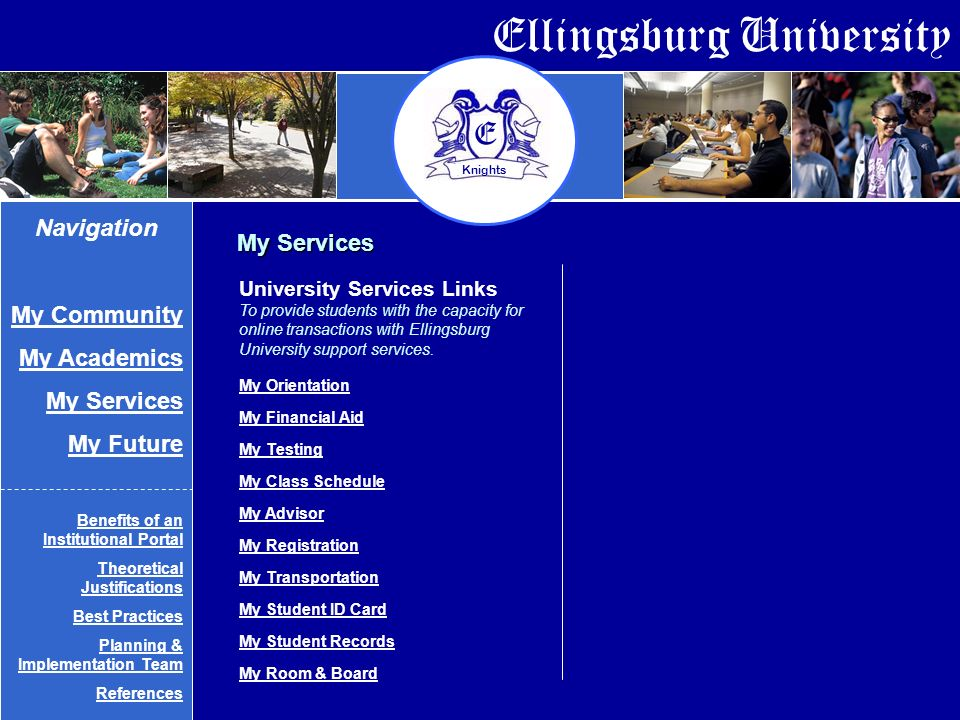 Ellingsburg University E Knights University Services Links To provide students with the capacity for online transactions with Ellingsburg University support services.