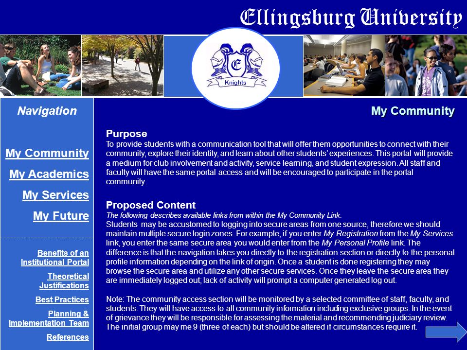 Ellingsburg University E Knights Private Information Links These links access a secure portal domain My E-Mail My Personal Profile My Private Community My Journal Public Information Links My Community Navigation My Community My Academics My Services My Future Benefits of an Institutional Portal Theoretical Justifications Best Practices Planning & Implementation Team References