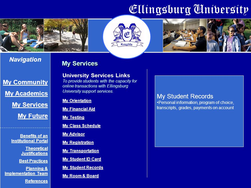 Ellingsburg University E Knights My Services My Student Records Personal information, program of choice, transcripts, grades, payments on account University Services Links To provide students with the capacity for online transactions with Ellingsburg University support services.