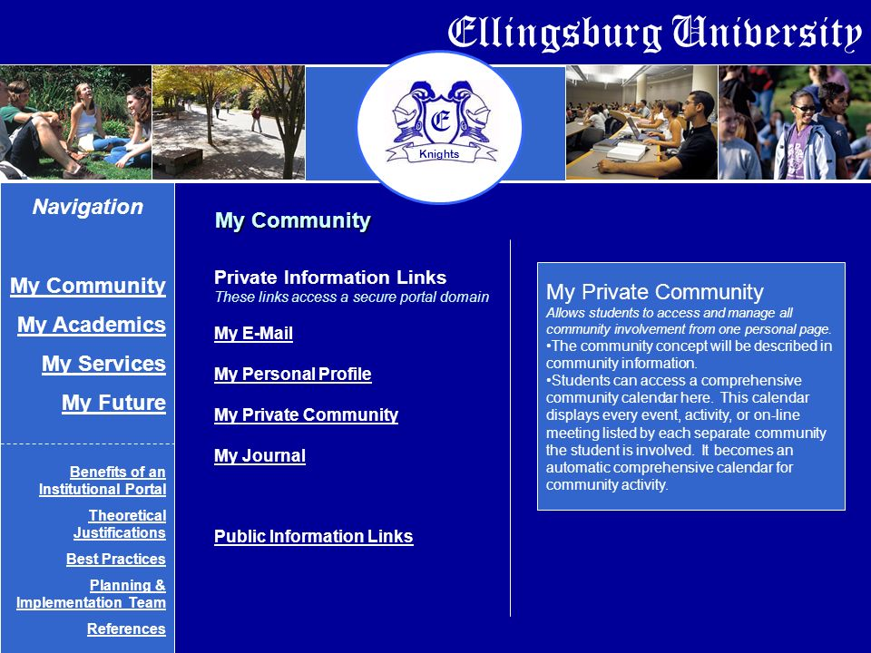 Ellingsburg University E Knights My Private Community Allows students to access and manage all community involvement from one personal page.