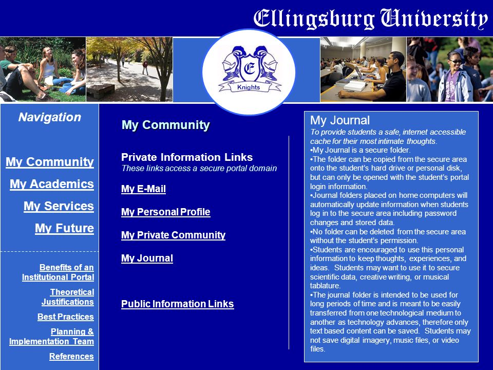 Ellingsburg University E Knights My Journal To provide students a safe, internet accessible cache for their most intimate thoughts.