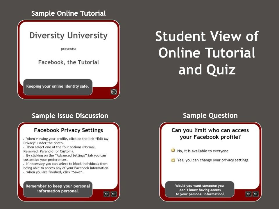 Sample Online Tutorial Sample Issue Discussion Sample Question Student View of Online Tutorial and Quiz