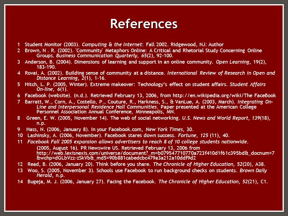 References 1 Student Monitor (2003). Computing & the Internet: Fall 2002. Ridgewood, NJ: Author 2 Brown, N. R. (2002). 'Community' Metaphors Online: A