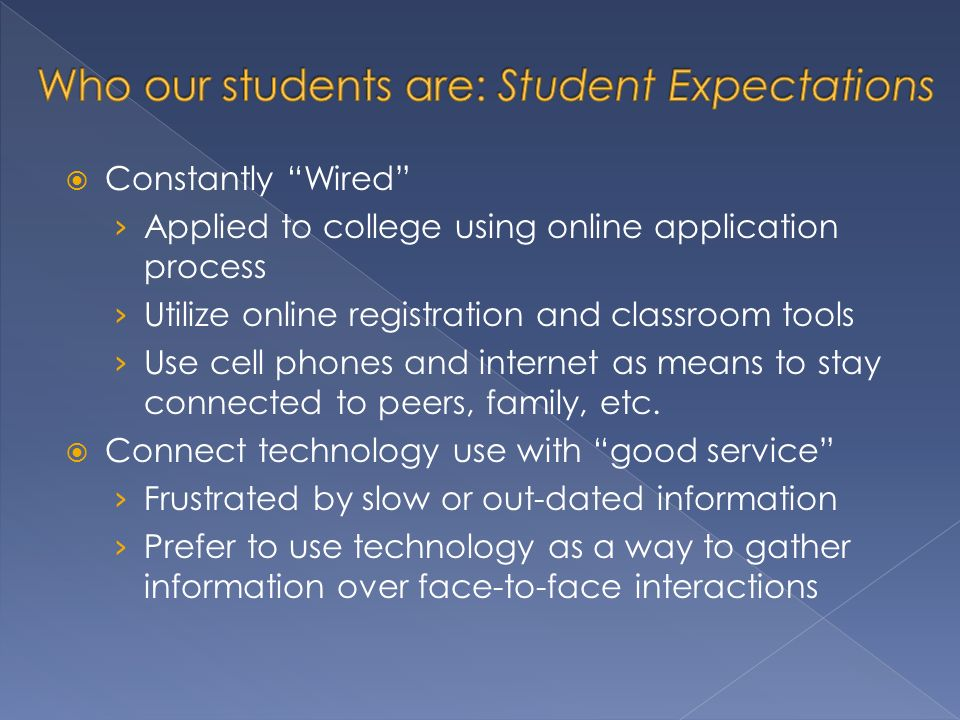 Constantly Wired Applied to college using online application process Utilize online registration and classroom tools Use cell phones and internet as means to stay connected to peers, family, etc.
