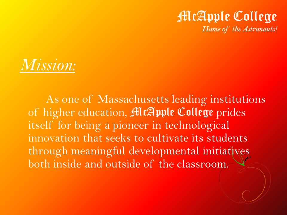 Apple Picking Benefits: McApple College Home of the Astronauts.