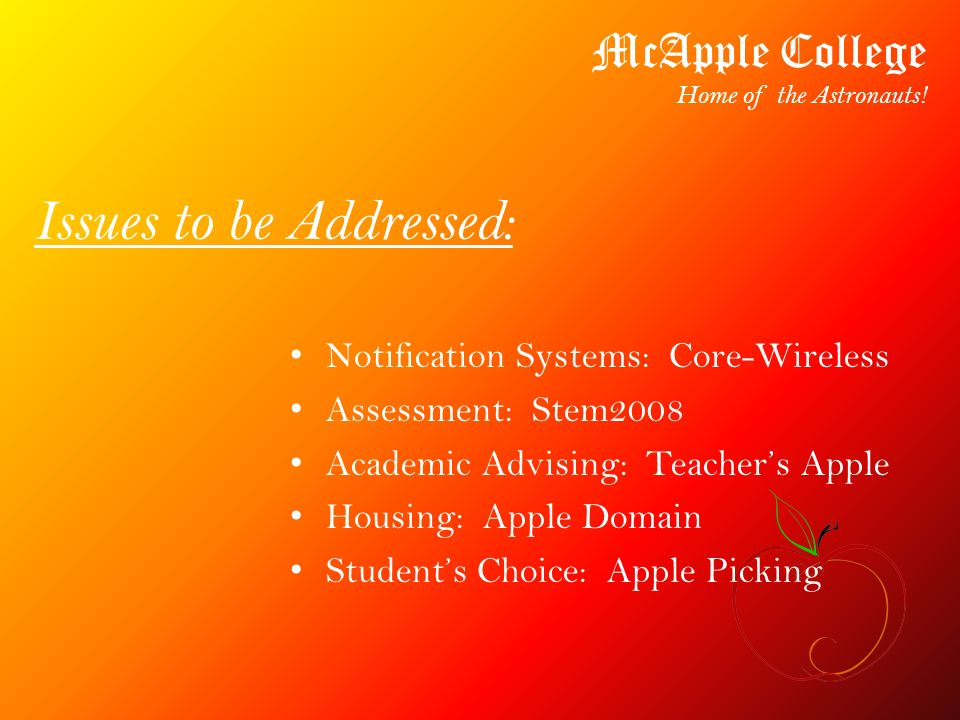Issues to be Addressed: Notification Systems: Core-Wireless Assessment: Stem2008 Academic Advising: Teachers Apple Housing: Apple Domain Students Choi