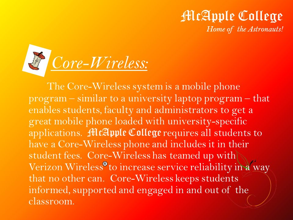Apple Domain: McApple College Home of the Astronauts.