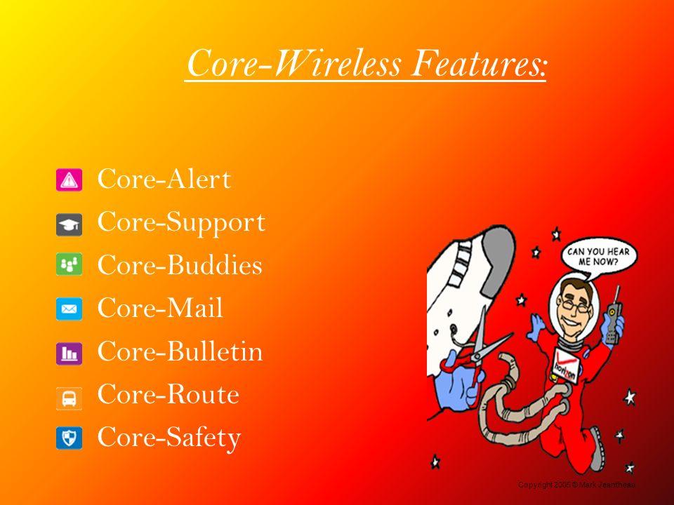 Core-Wireless Features: Core-Alert Core-Support Core-Buddies Core-Mail Core-Bulletin Core-Route Core-Safety Copyright 2005 © Mark Jeantheau
